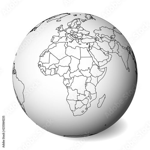 Map Of Africa 3d.Blank Political Map Of Africa 3d Earth Globe With Black Outline Map
