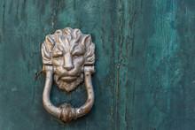 Ancient Lion Door Knocker On A...