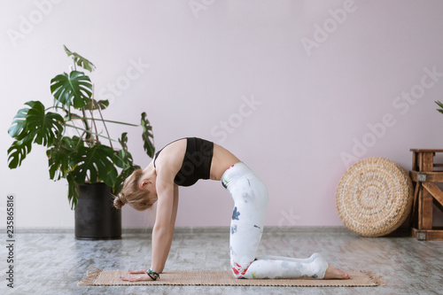 Fotografie, Obraz  Side view portrait of beautiful young woman wearing white tank top working out against grey wall, doing yoga or pilates exercise