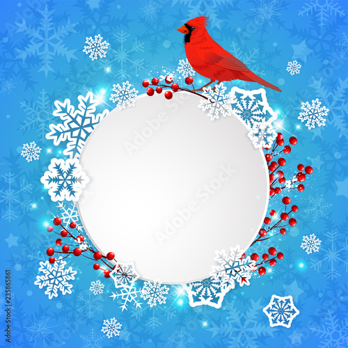 Photo  Christmas banner with snowflakes and cardinal bird