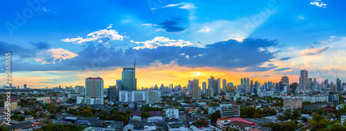 Fotobehang Stad gebouw City scape of Bangkok city at sunset with beautiful sky and cloud. Business district center. Asia travel location. Picture for add text message. Backdrop for design art work.
