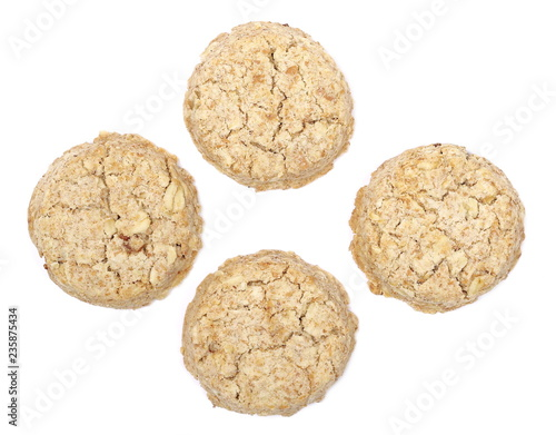 Staande foto Koekjes Integral round oatmeal cookies with raisins isolated on white background, top view