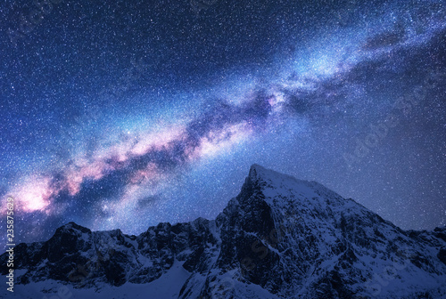 Milky Way above snowy mountains Canvas Print