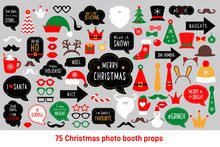 Christmas Photo Booth Props Vector Set Photobooth