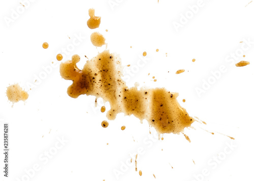 Photo spilled coffee stain isolated