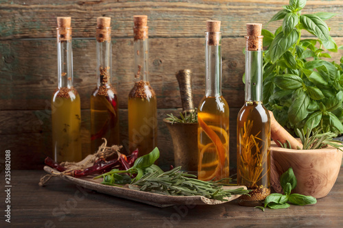 Olive oil with different spices and herbs.
