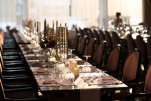 Long Table Dinner Party Fine Dining Restaurant Celebrate Occasion