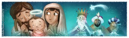 Fotografie, Obraz  portal de belen y reyes magos en navidad