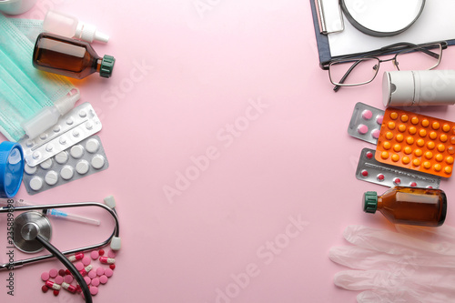 Table doctor. Medical equipment on a bright pink background. view from above. with space for inscription. Flat lay