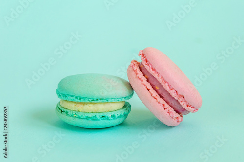 Sweet Almond Colorful Pink Blue Macaron Or Macaroon Dessert Cake Isolated On Trendy Blue Pastel Background French Sweet Cookie Minimal Food Bakery Concept Flat Lay Top View Copy Space Buy This