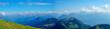 Panorama der Schweizer Alpen/ Blick von der Rigi auf die Schweizer Berge, Landschaft im Herbst, blauer Himmel und weiße Wolken, Panorama.