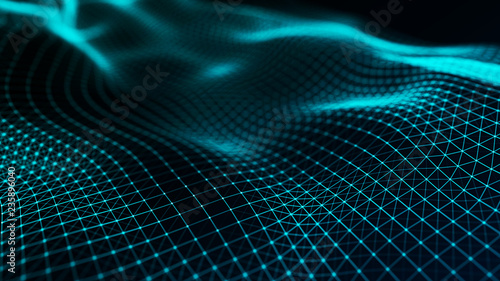 Aluminium Prints Fractal waves Abstract futuristic wave background. Wave of particles. Wave with connecting dots and lines. 3d rendering.