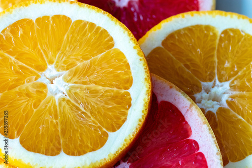 Fototapety, obrazy: slices of orange and grapefruit on plate