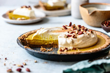 Homemade Pumpkin Cream Pie, Gluten Free. Made With Hazelnut Flour.