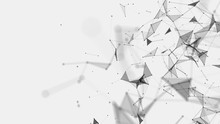 Abstract Background Consisting Of Triangles In Space. Polygonal White Background. Plexus Effect. 3d Rendering.