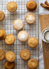 Small Fruit Mince Pies Partially Dusted With Icing Sugar.