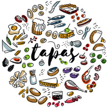 Tapas And Appetizers Hand Drawn Design