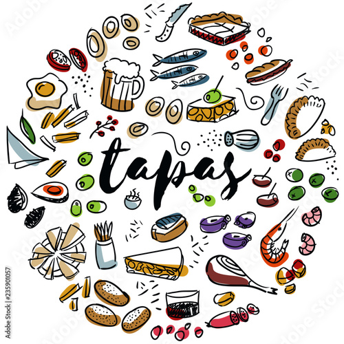 Foto Tapas and appetizers hand drawn design