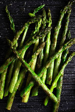 Close Up Of Chargrilled Asparagus Spears