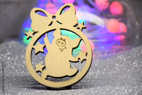 Wooden Chinese New Year Toy With Funny Pig And Stars On Beautiful