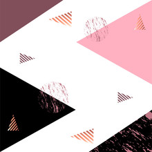 Rose Gold Background Vector Illustration Abstract Design Template With Black, Pink And Lilac Triangles And Gold Geometric Elements On White Background
