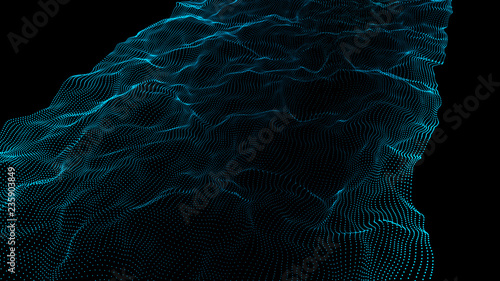 Futuristic point wave.Wave of particles. Abstract background with a dynamic wave. 3D rendering.