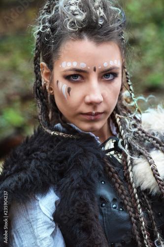 Portrait Of Beautiful Scandinavian Viking Woman Warrior With