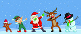 Dabbing Christmas Cartoon Characters Funny Banner