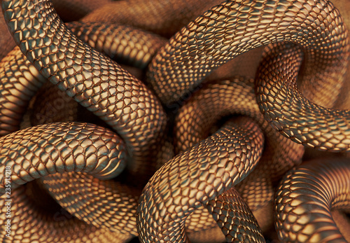 Bronze Colored Snakes Abstract Background. 3D illustration
