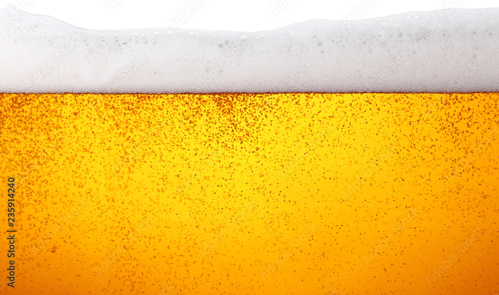 Fototapety, obrazy: Close up background of beer with bubbles in glass