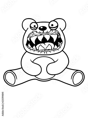 Fotografie, Obraz  böse monster gefährlich horror halloween gruselig hässlich teddy grizzly bär bär