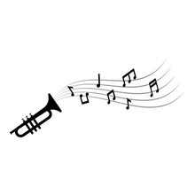 Music Notes And Trumpet Graphi...