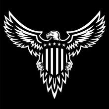 Patriotic American Eagle Vector Illustration, Wings Spread, Holding Shield