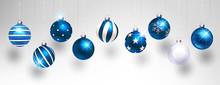 Christmas Blue Balls. Vector