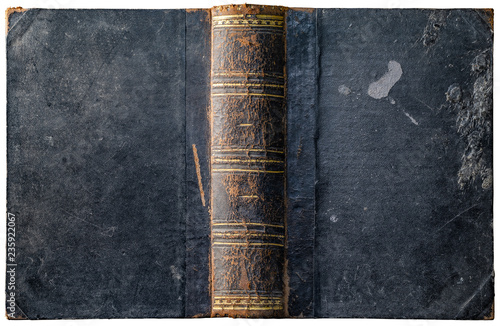 Photographie  Old open book cover with worn textured grungy paper boards and wax drips, cracke