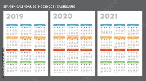 Calendario 2020 2020.Spanish Calendar 2019 2020 2021 Vector Template Buy This