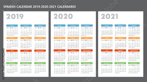 Fényképezés  Spanish calendar 2019-2020-2021 vector template