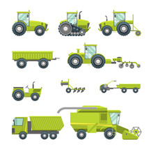 Cartoon Agricultural Vehicles Icon Set Different Type. Vector