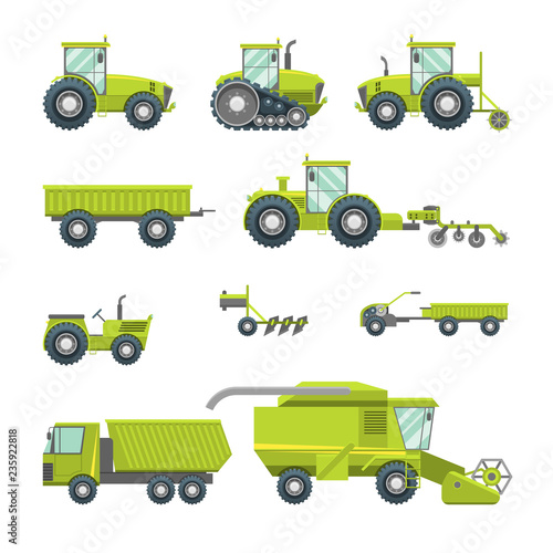Photo Cartoon Agricultural Vehicles Icon Set Different Type. Vector