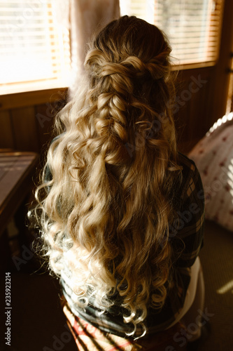Fotografie, Obraz  woman with long golden curly hair