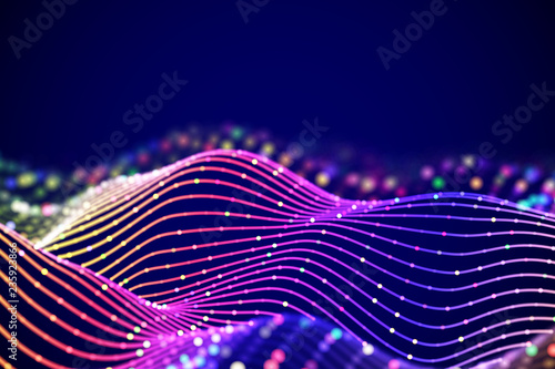 Poster Abstract wave 3D Sound waves with colored dots. Big data abstract visualization. Digital concept: virtual landscape. Futuristic background. Sound waves, visual audio waves equalizer, EPS 10 vector illustration.