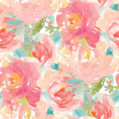 Watercolor Floral Background with Hand Painted Flowers. Spring Floral