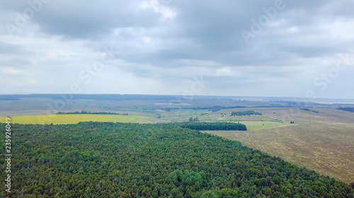 Spoed Foto op Canvas Khaki forest boundary. Panorama of a grove and fields. Russia