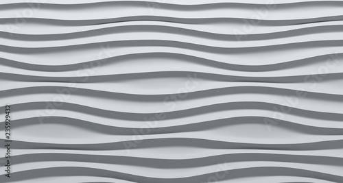 Foto auf Leinwand Abstrakte Welle White Wavy background. Interior wall decoration. 3D illustration. Abstract waves.
