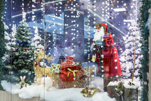 Christmas Shop Window With Santa Claus, Deer And Sleigh With Gifts, Festive Winter Christmas Background