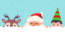 Santa Claus, Reindeer And Elf ...