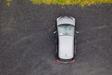 Overhead View Of A Small Hatchback Car