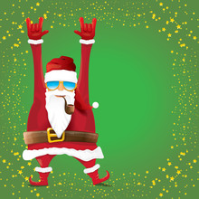 Vector DJ Rock N Roll Santa Claus With Smoking Pipe, Santa Beard And Funky Santa Hat Isolated On Green Christmas Square Background With Stars. Christmas Hipster Party Poster, Banner Or Card.