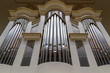 canvas print picture - Close-up of modern steel organ pipe