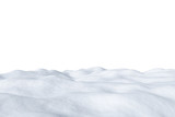 White snowy field isolated on white background.